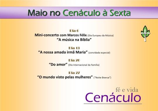 Cartaz Sextas MAI16 no Cenáculo